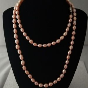 """Jewelry - REAL 7mm 35"""" Pink Pearl Necklace"""